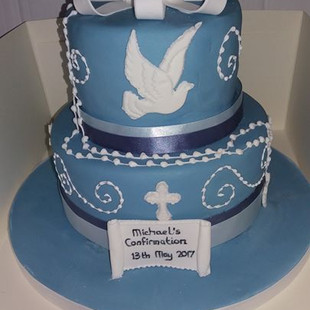 Dove and cross wedgewood blue Confirmation cake