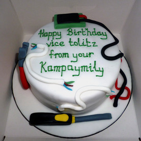 Electrician's tools birthday cake