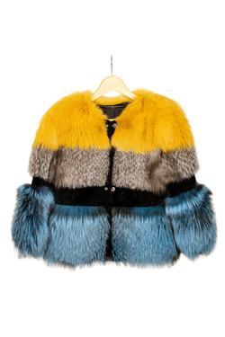 DV Luxury Goods Blue and Mustard Fur Coa