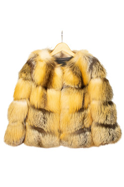 DV Luxury Goods Mustard Fur Coat