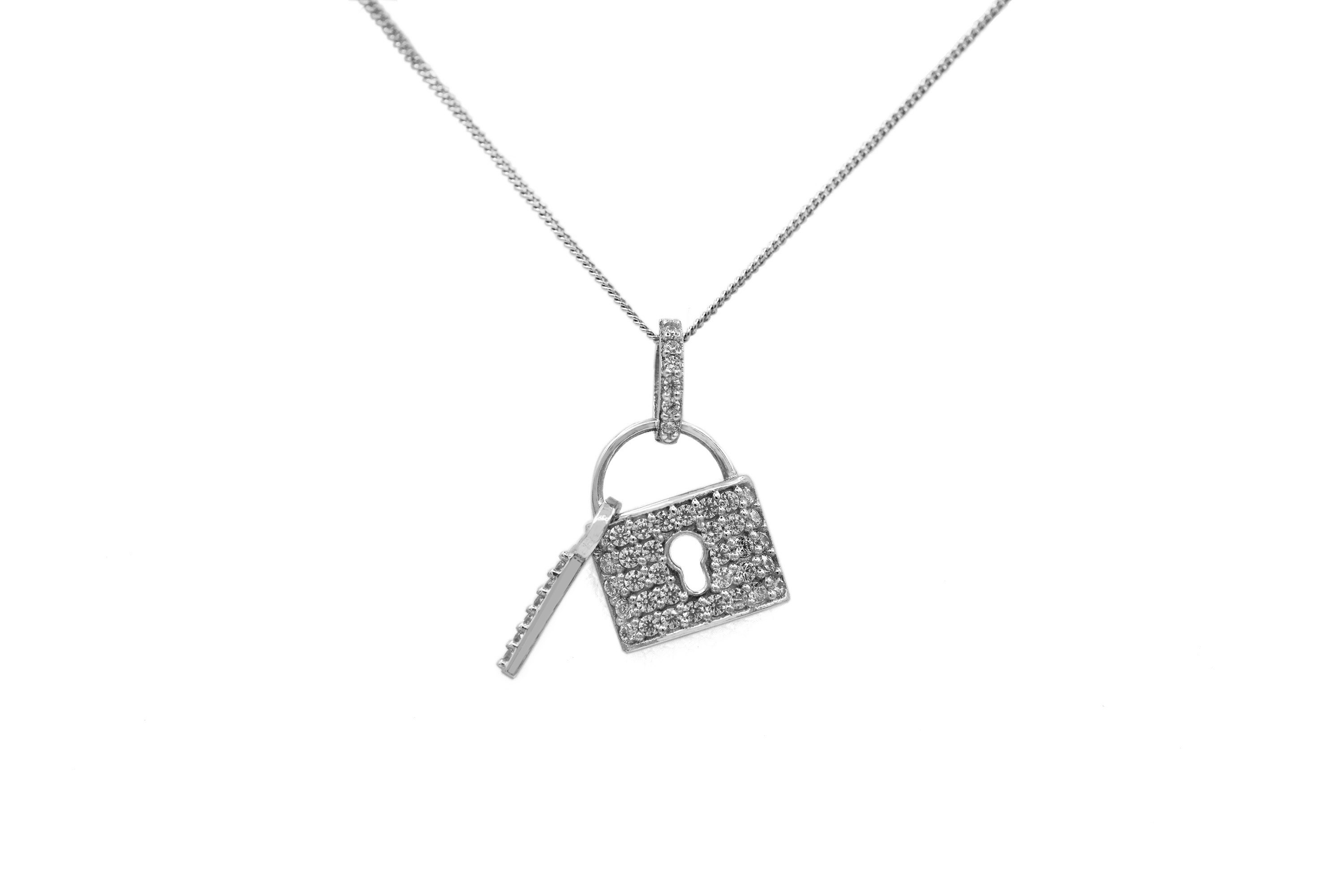 Silver lock and key necklace 2