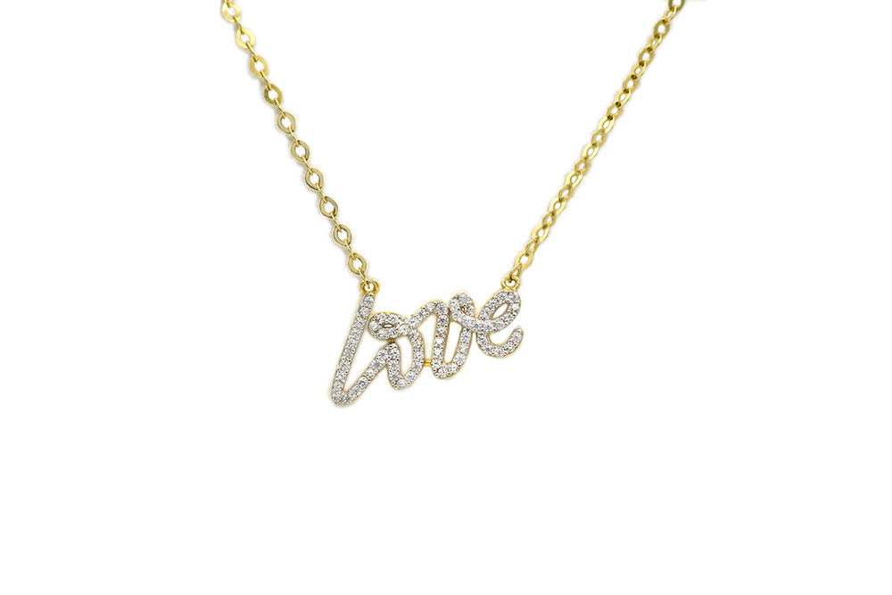 22 Love and Diamonds Pendant Gold Necklace