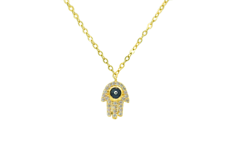 7 rev  Gold Hand of Hamsa Fatima Pendant Necklace