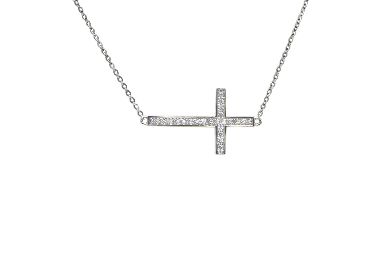 11 Dainty Sideways Cross Pendant Necklace rev