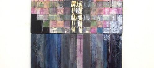 Abiding, 2007 Canvas construction, woven canvas strips, plexiglass, screws