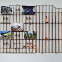 Postcards from the Other Side, 2021 Repurposed birdcage, 5 digital postcard prints on metal, wire connectors  59.5 x 77.5 x 2.5 cm