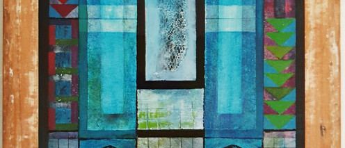 Fishers of Men, 2003 Acrylic mixed media on stretched canvas, found fish net with hook, recycled wood