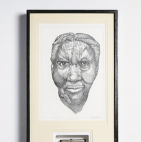 The Wealth of the Nation, 2019 Masud Olufani's 2019 work (graphite on paper and burned copy of Scottish economist and moral philosopher, Adam Smith's, The Wealth of Nations, first published in 1776) is a framed installation. The drawing depicts a detailed portrait of an African American women, whose face bears the marks of time. Her anonymity suggests she represents many similar faces. Masud destroyed the book by sawing it in half and then burning it with a blowtorch. The charred remains were coated in resin and framed beneath the portrait.