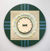 Muted Spell it out: Word Games Compendium, 2018 acrylic, craft letter, bamboo, Scrabble board, Scrabble block letters, PVA, sealant, spray paint, adhesive on board, Diameter 60cm