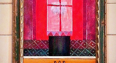 The Gift, 2003 Acrylic mixed media on stretched canvas, recycled wood, found carved frames, metal rods