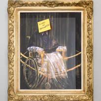 Contains No Preservatives: Study After Bacon's Study After Velázquez's Portrait of Pope Innocent X (1953) 2018 Pen, gold leaf, pastel, pencil on duraprint, pen on Post-it note, perspex, antique plaster frame, 48.5 x 39cm