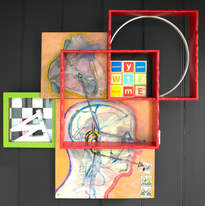 Te Kāinga Kupu: Where the Words Live, 2018 acrylic, oil, spray paint, pencil, sealant on board, Scrabble block letters, found objects 56 x 59 x 13cm