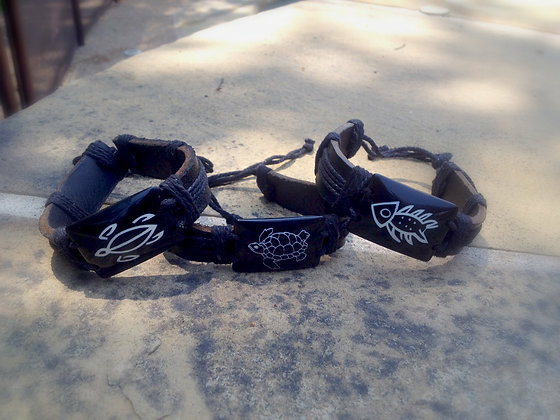 Black & White leather wristbands