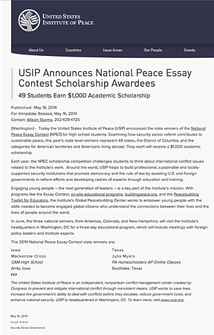 usip peace essay winners