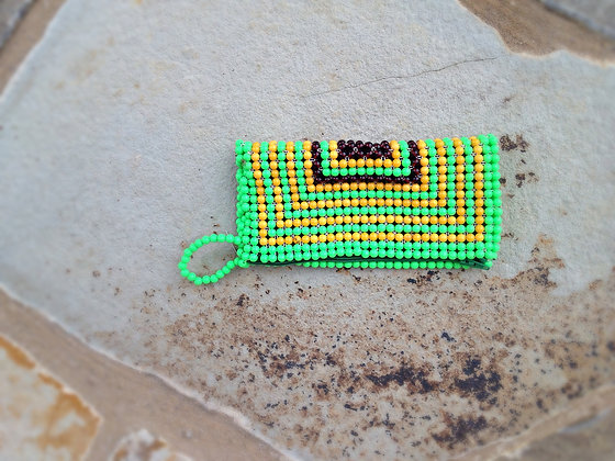 Yellow/Green beaded clutch