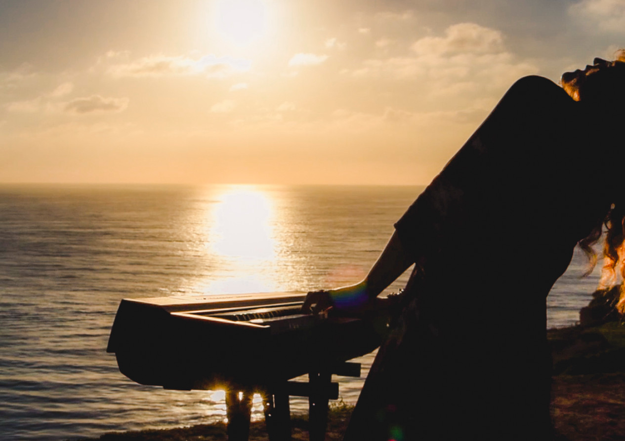 Sunset piano jam of musician Christina Lyon