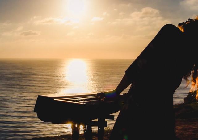 Sunset piano jam of musician Christina Lyon