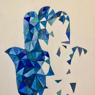 Geometric Blue Hamsa