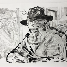 """11.25""""x10"""" A monotype is a one of a kind, unique peice of artwork, on Arches BFK Rives Paper.  2021"""