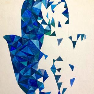 Geometic Blue Hamsa 2