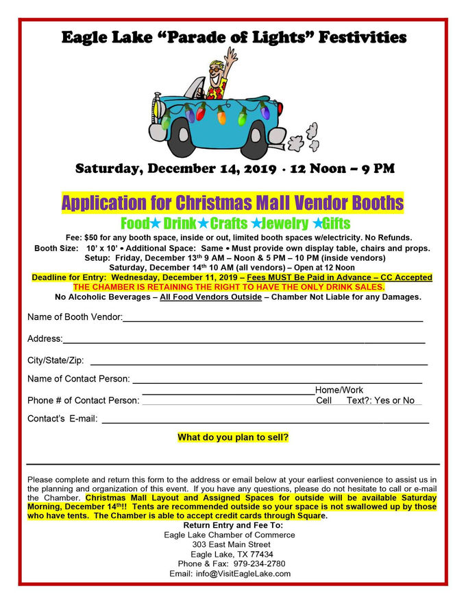 2019 Christmas Mall Entry Form