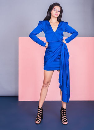 ELECTRIC BLUE SATIN PUFF SLEEVE DRESS 3.