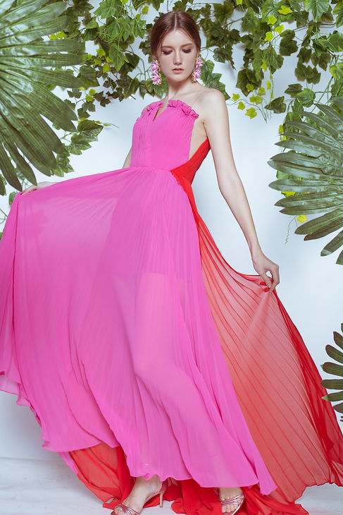 FUCHSIA PINK AND RED PLEATED DRESS.jpg