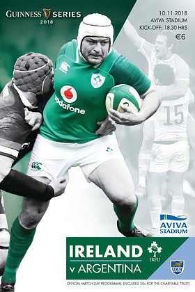 Ireland v Argentina 2018 Guinness series
