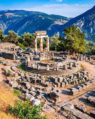 Delphi, Greece. Tholos temple, sanctuary