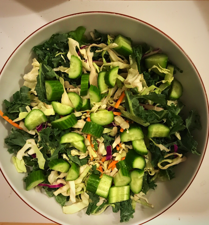 Summer Cucumber Kale & Cabbage Salad