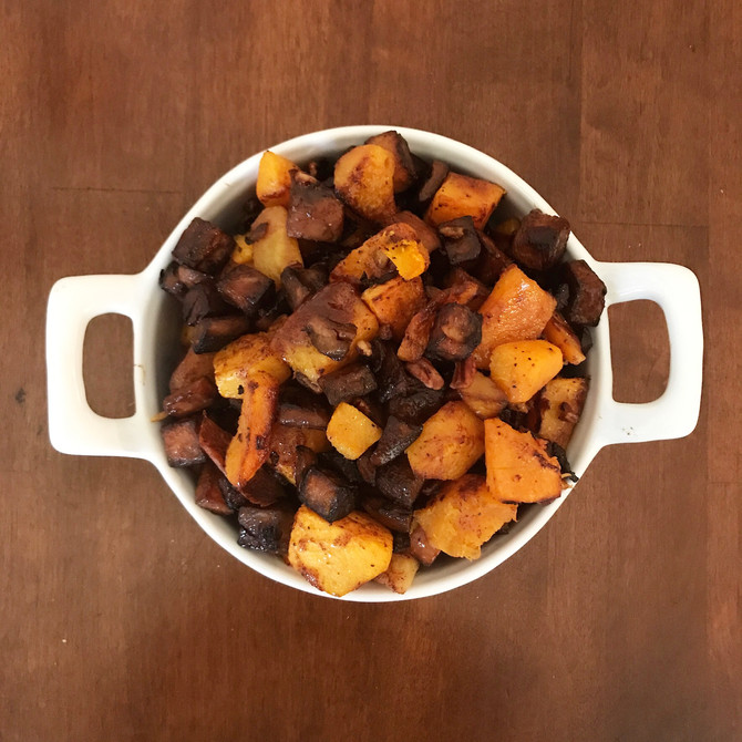 Sweet Potato Butter nut squash hash with cinnamon honey glaze and toasted pecans