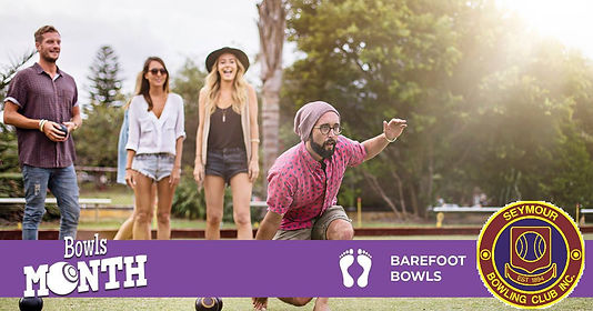 The Seymour Bowling Club will be holding Barefoot Bowls on Wednesday evenings 6pm -8.30 pm starting Wednesday 3rd October and continuing to Xmas and into the new year. The cost of each night is $10.00 which includes a pizza supper, provision of bowls, drinks at bar prices and prizes.
