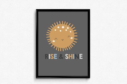 Ilustrirani poster RISE&SHINE svijetlo sivi