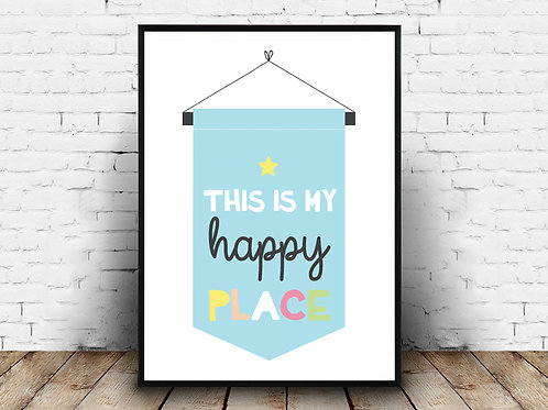 Ilustrirani poster HAPPY PLACE BLUE
