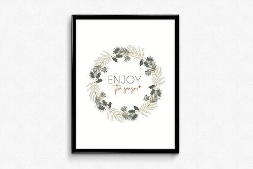 Prigodni poster Božić 2020 Wreath white