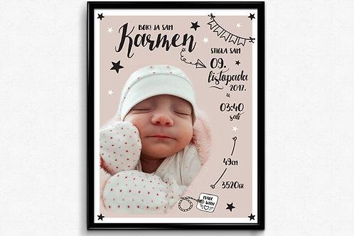 Personalizirani poster s podacima i slikom djeteta