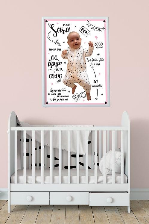 Mini Print personalizirani poster s podacima i slikom djeteta
