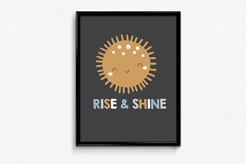 Ilustrirani poster RISE&SHINE-tamno divi
