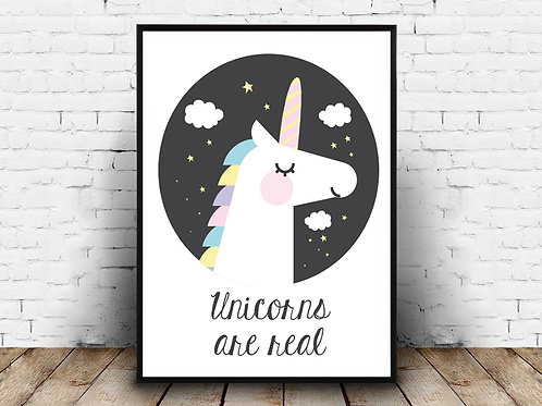 Ilustrirani poster UNICORNS ARE REAL