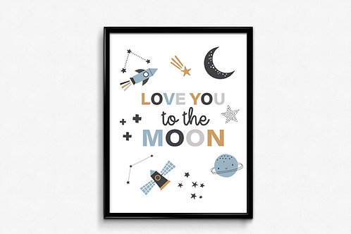 Ilustrirani poster LOVE YOU TO THE MOON
