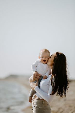 mor barn billede