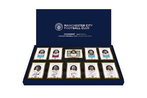 MANCHESTER CITY Edition I 24ct plated framed Autograph & Memorabilia Card Sets