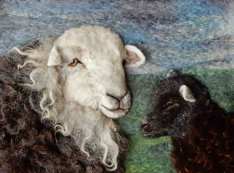 Fibre art Herdwick ewe and lamb portrait from a photograph taken in Matterdale
