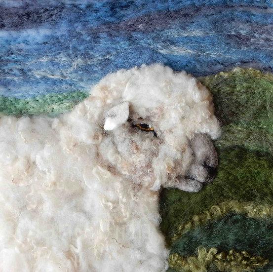 Southdown fibre art sheep portrait