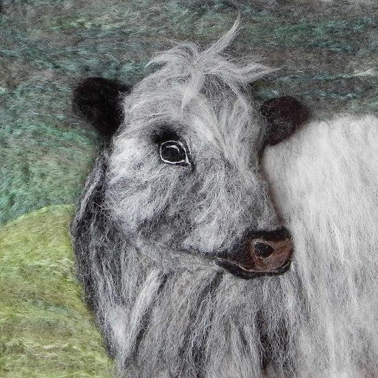 Fibre art portrait of a British White heifer