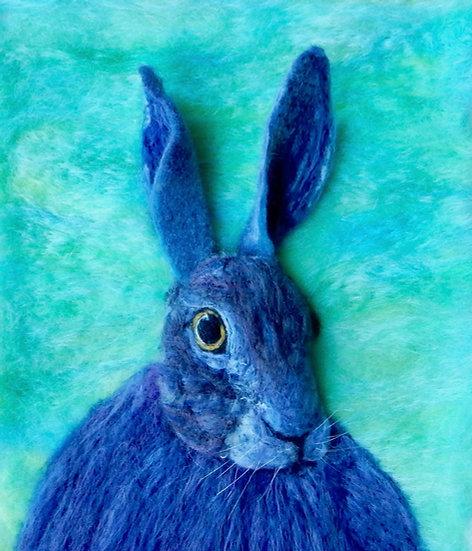Fibre art multicoloured hare