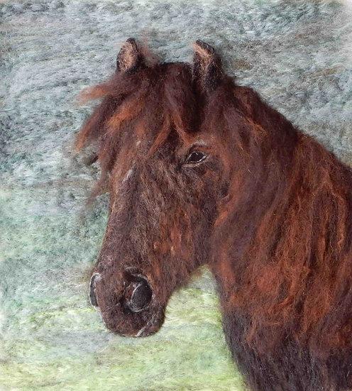 Fibre art portrait of a Cumbrian Fell pony