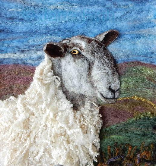 Bluefaced Leicester ram fibre art portrait