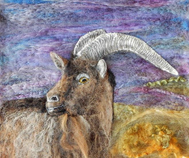 Fibre art English goat portrait