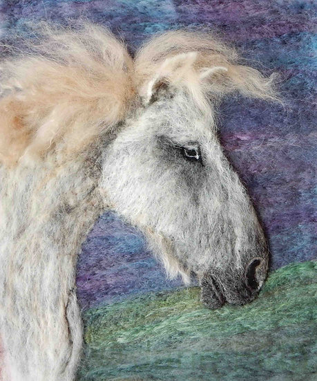 Greetings card from a fibre art Fell Pony portrait